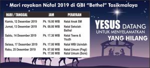 Jadwal Perayaan Natal 2019 GBI Tsm